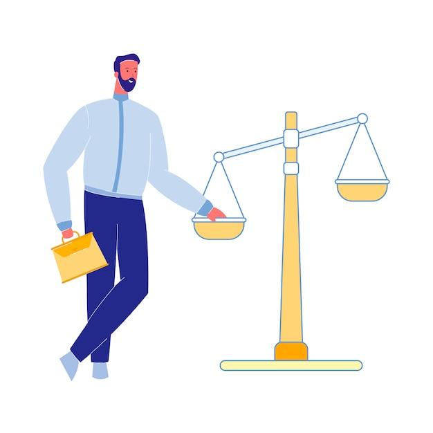 Advocaat met justitie schalen vectorillustratie Premium Vector