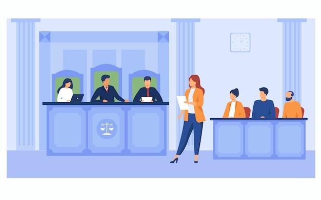Advocaat pleit voor de rechtbank Gratis Vector