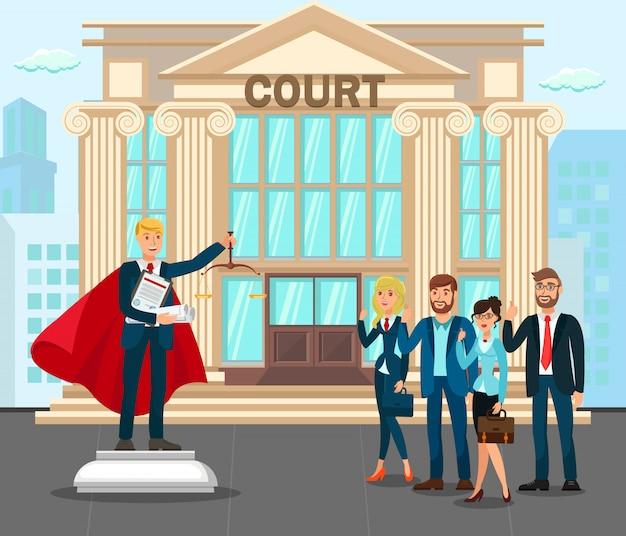 Advocaten bij gerechtsgebouw front yard Premium Vector