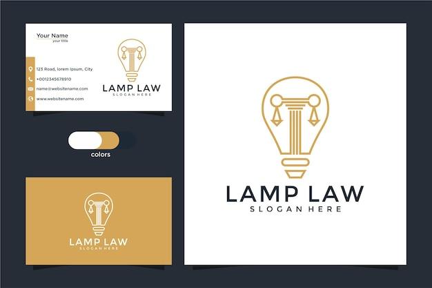 Advocatenkantoor, advocaat, pijler en gloeilamp lijntekeningen stijl logo met visitekaartje Premium Vector