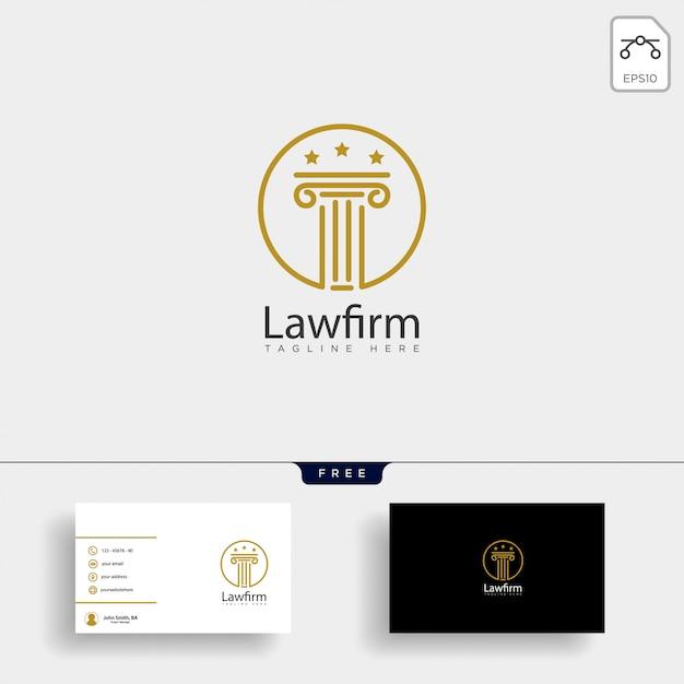 Advocatenkantoor, pleiten voor creatieve logo sjabloon met visitekaartje Premium Vector