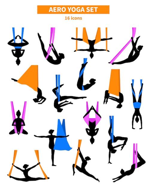 Aero yoga black white silhouetten instellen Premium Vector