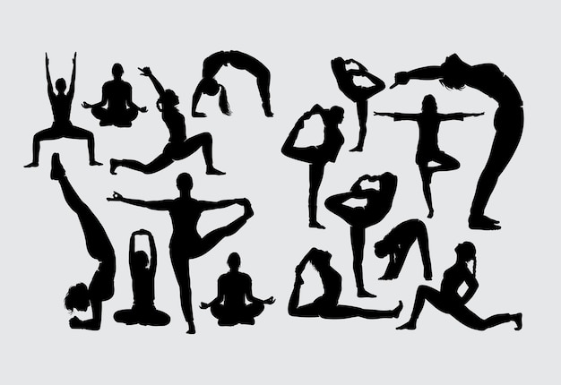 Aërobe yoga-stretching en fitnesssportsilhouet Premium Vector