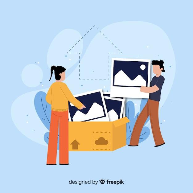 Afbeelding upload concept illustratie Gratis Vector