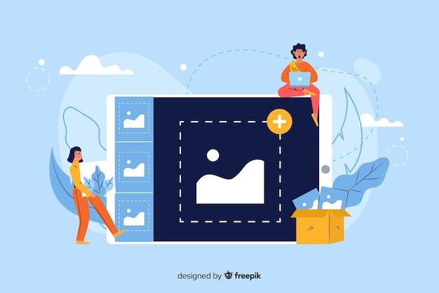 Afbeelding upload concept voor bestemmingspagina Gratis Vector