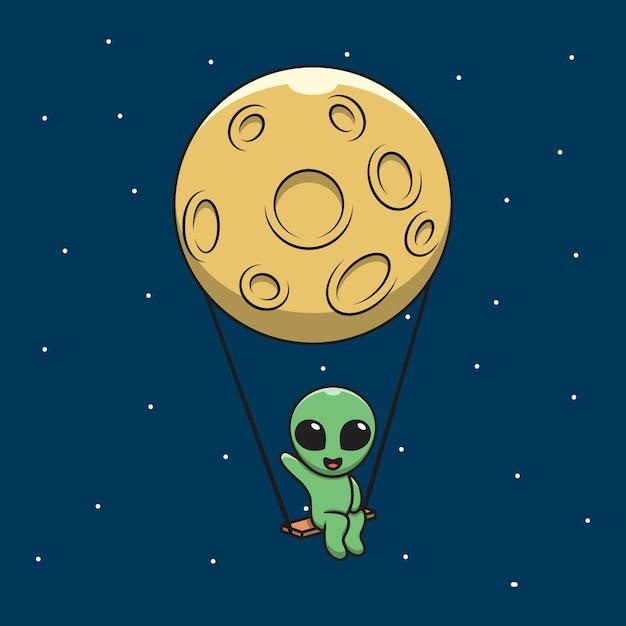 Afbeelding van cartoon aliens begroeten op een schommel met de maan. Premium Vector