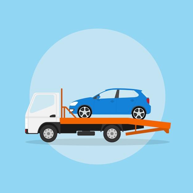 Afbeelding van de sleepwagen met auto erop, stijlillustratie Premium Vector