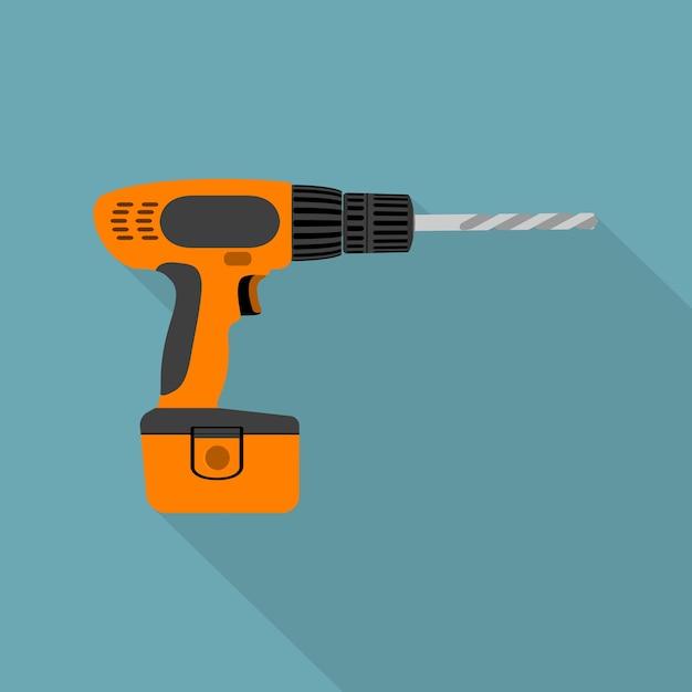 Afbeelding van draadloze schroevendraaier met vijzel, stijlicoon Premium Vector