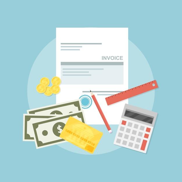 Afbeelding van factuurblad, pen, rekenmachine, liniaal, munten, bankbiljetten en creditcard, stijlillustratie, factuurbetalingsconcept Premium Vector