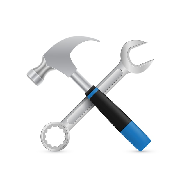 Afbeelding van gekruiste industriële hamer en moersleutel Premium Vector