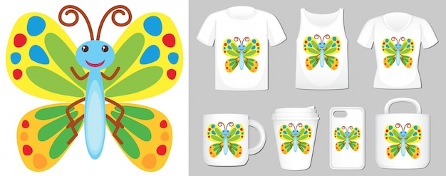 Afbeelding van kleurrijke vlinder op verschillende productsjablonen Gratis Vector