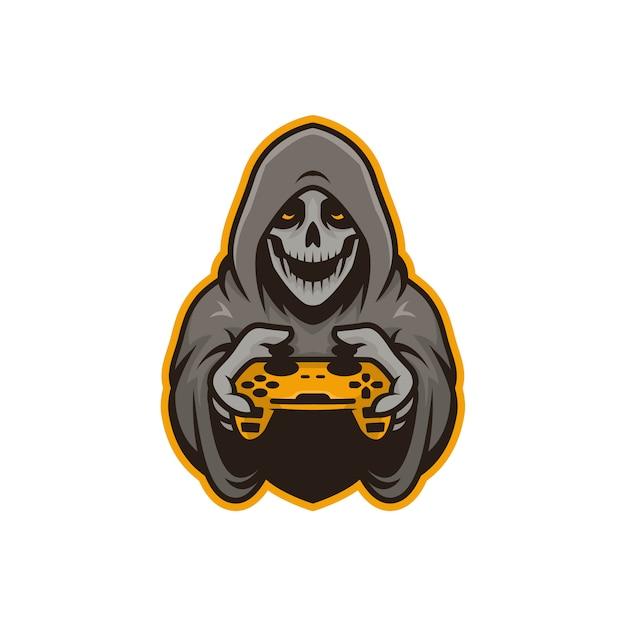 Afbeelding van mascotte schedel gamers illustratie. perfect voor logo, pictogram of mascotte Premium Vector