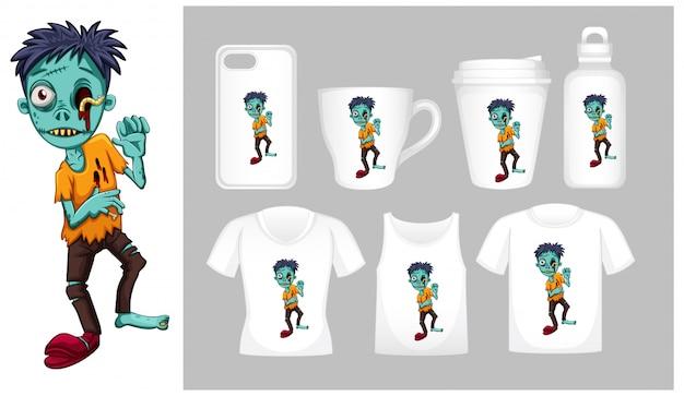 Afbeelding van zombie op verschillende soorten productsjabloon Gratis Vector