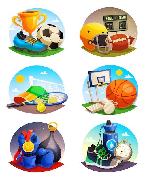 Afbeeldingen verzameling van sport inventaris Gratis Vector