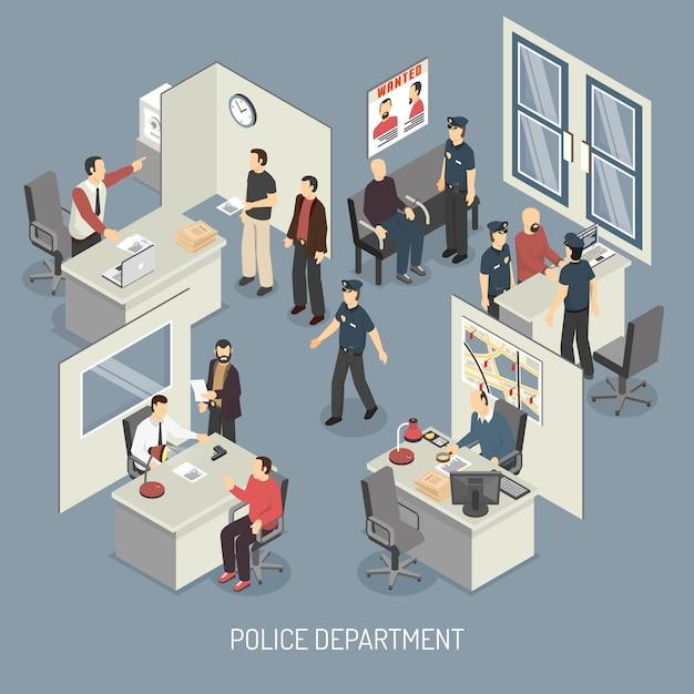 Afdeling isometrische samenstelling van de politie Gratis Vector