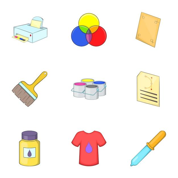 Afdrukken iconen set, cartoon stijl Premium Vector