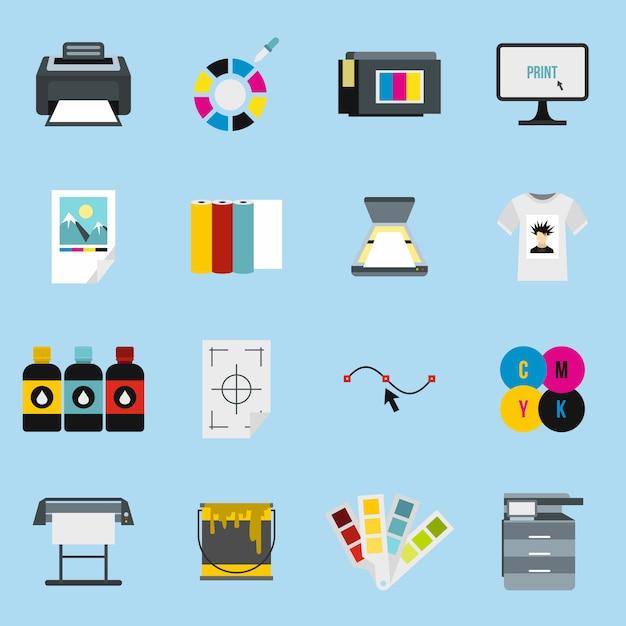 Afdrukken van pictogrammen instellen Premium Vector