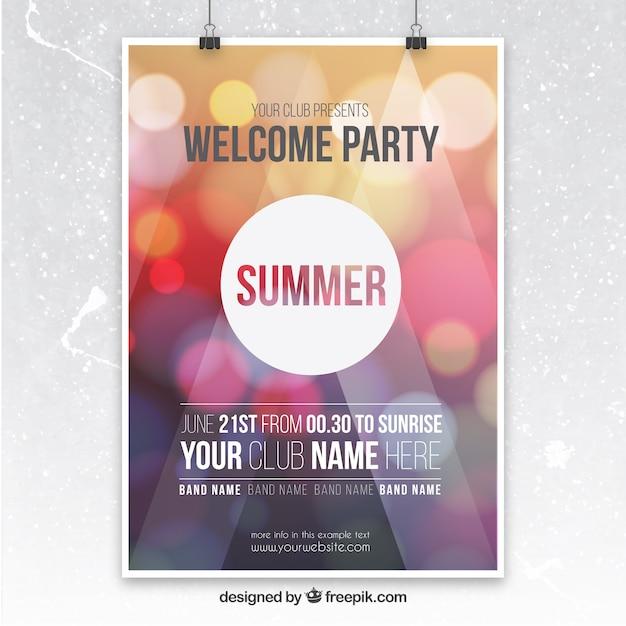 Affiche feest met bokeh achtergrond Gratis Vector