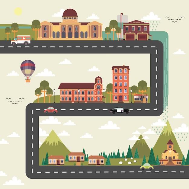 Affiche stad en voorstad Gratis Vector