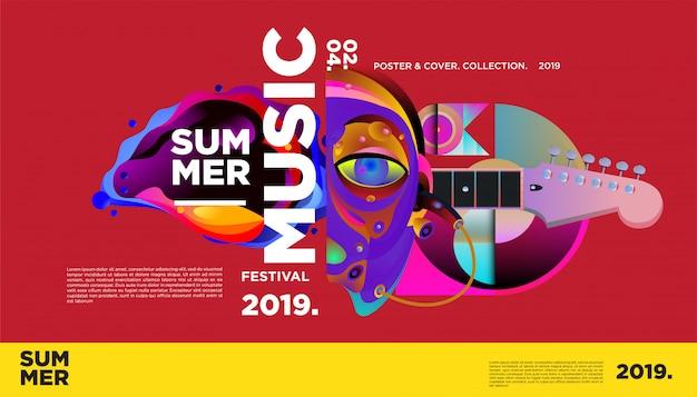 Affiche van de het festivalmalplaatje van de zomer het kleurrijke Premium Vector