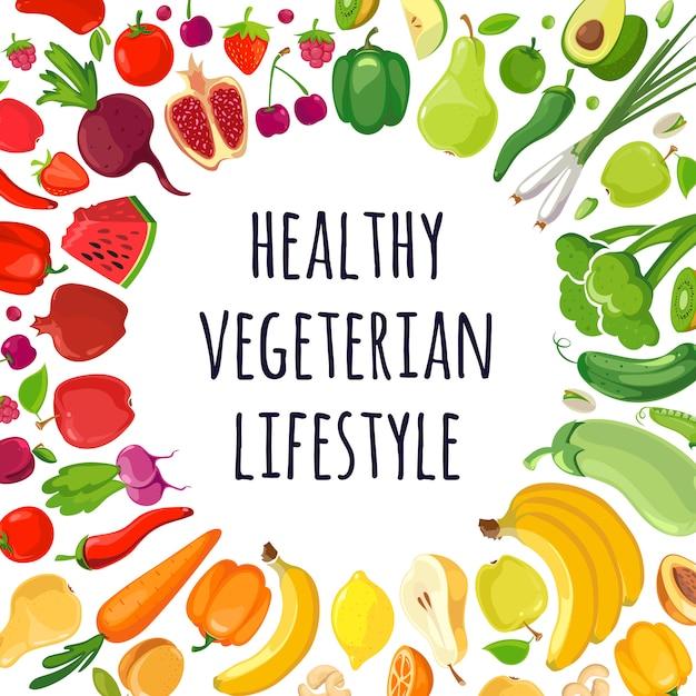 Affiche van kleurrijke groenten en fruit Premium Vector