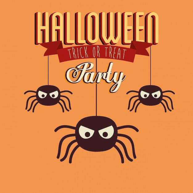 Affiche van partij halloween met spinneninsecten Gratis Vector