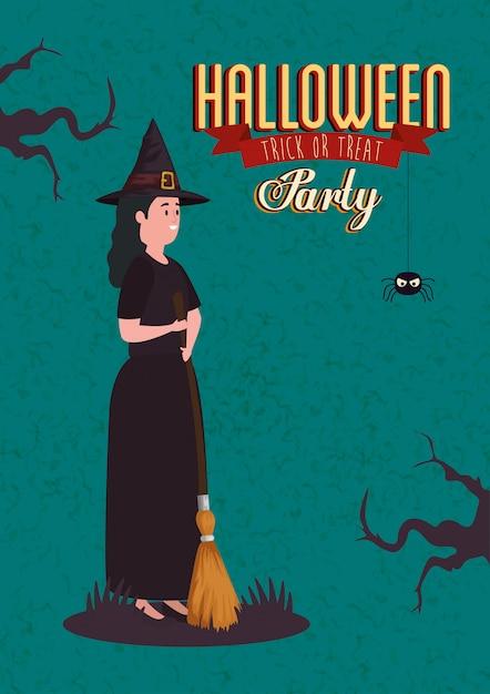 Affiche van partij halloween met vrouw vermomd van heks Gratis Vector