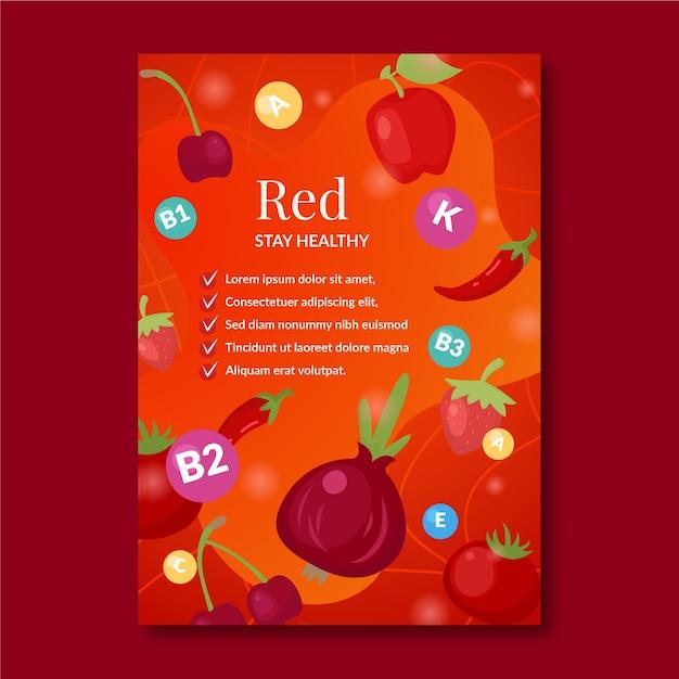 Affichemalplaatje voor bevordering van gezonde voeding Gratis Vector