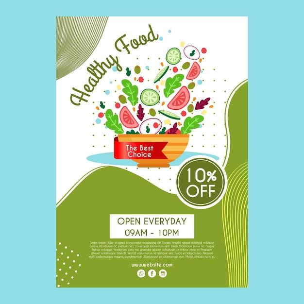 Affichemalplaatje voor gezond voedselrestaurant Gratis Vector