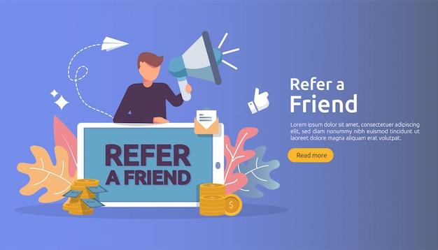 Affiliate marketing concept. verwijs een vriend strategie. mensen karakter schreeuwen megafoon delen verwijzing zakelijk partnerschap en verdien geld. Premium Vector
