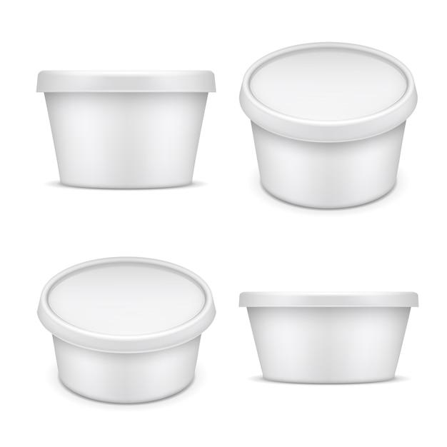 Afgeronde container. witte plastic verpakking. karnemelk en margarinedoos op witte illustratie wordt geïsoleerd die Premium Vector