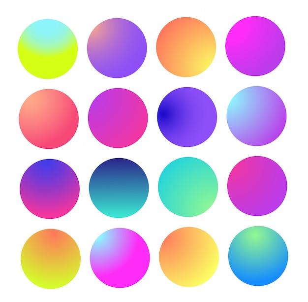 Afgeronde holografische gradiëntbol. multicolor groen paars geel oranje roze cyaan vloeistofcirkel verlopen, Premium Vector