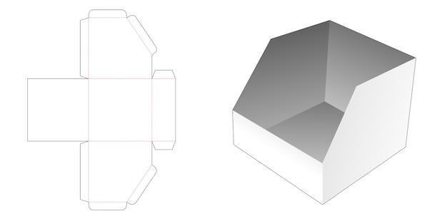 Afgeschuinde briefpapier doos gestanst sjabloon Premium Vector