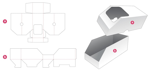 Afgeschuinde doos en deksel met sjabloon voor gestanst venster Premium Vector