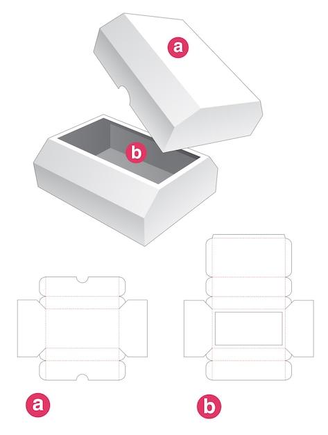Afgeschuinde doos met afgeschuinde deksel gestanst sjabloon Premium Vector