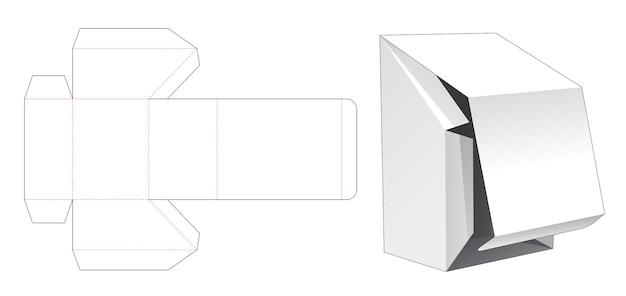 Afgeschuinde flip-box met gestanste sjabloon met opening aan de onderkant Premium Vector