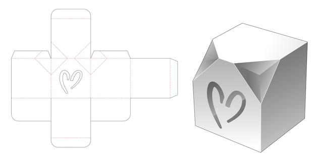 Afgeschuinde hoekdoos met hartvormig raam gestanst sjabloon Premium Vector