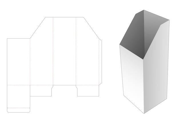 Afgeschuinde hoge briefpapierdoos met gestanste sjabloon in venster Premium Vector