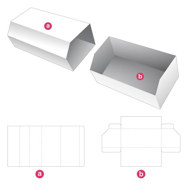 Afgeschuinde kartonnen bak met omslag gestanst sjabloon Premium Vector