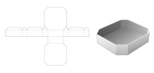 Afgeschuinde rechthoekige bak gestanst sjabloon Premium Vector