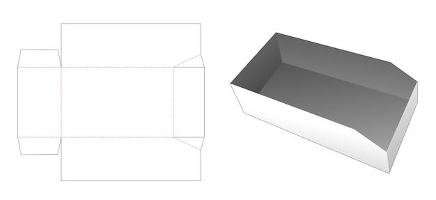 Afgeschuinde tray gestanst sjabloon Premium Vector