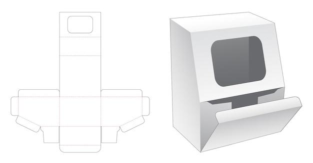 Afgeschuinde verpakking met weduwe op afgeschuinde hoek gestanste sjabloon Premium Vector