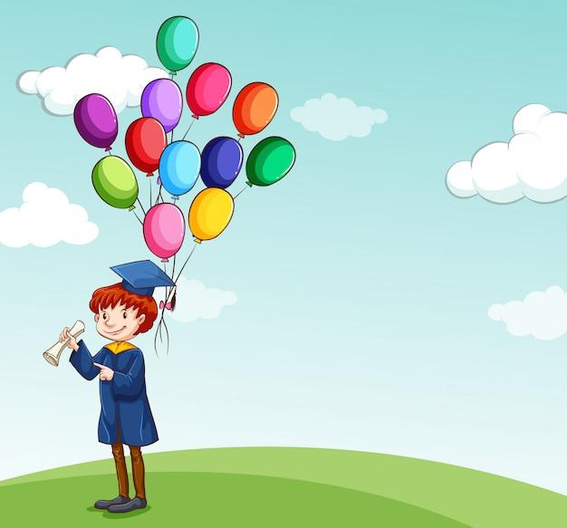 Afgestudeerd, kind bedrijf ballonnen Gratis Vector