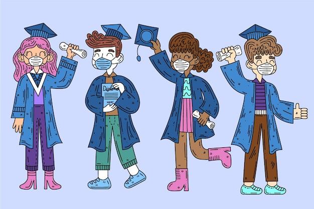 Afgestudeerden dragen medische maskers Gratis Vector