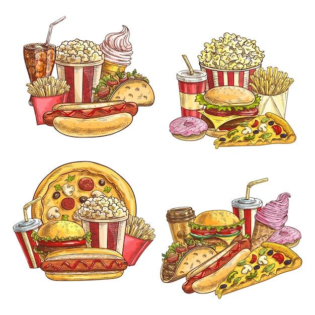 Afhaalmaaltijden en snacks voor fastfood. straatcaféburgers en koude dranken. Premium Vector