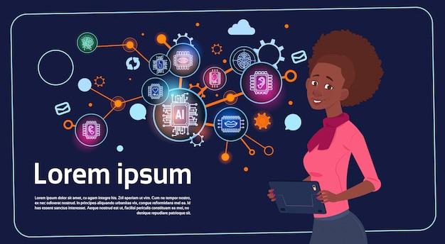 African american zakenvrouw presentatie stand stand over digitaal scherm met grafieken en grafiek Premium Vector