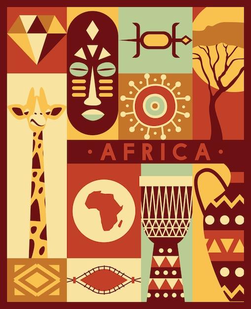 Afrika jungle etnische cultuur pictogrammen reisset Premium Vector