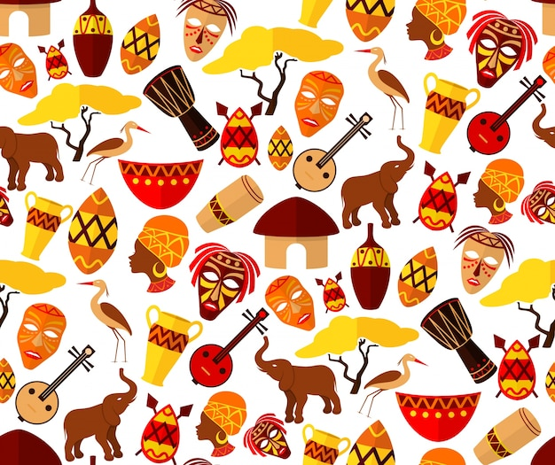 Afrika-jungle etnische stam reizen naadloze patroon vector illustratie Gratis Vector