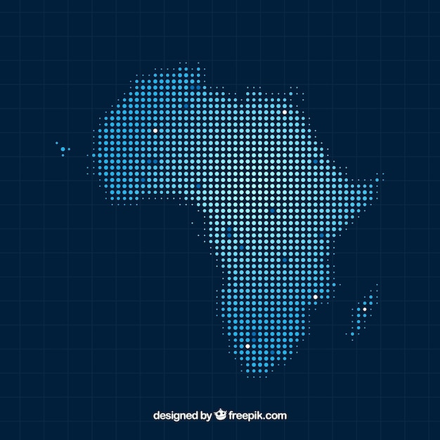 Afrika kaart achtergrond met stippen Gratis Vector