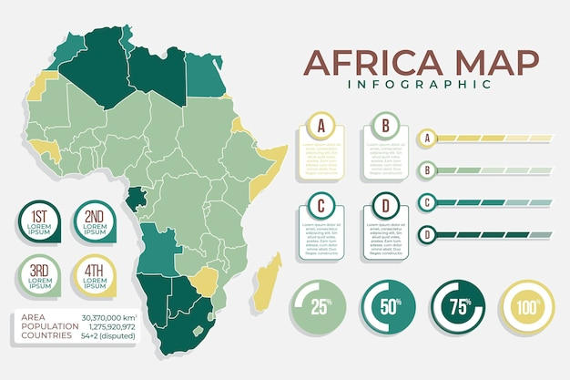 Afrika kaart infographic met tekst en grafieken Premium Vector